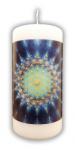 Blume des Lebens Kerze blau-grün