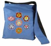 Schultertasche mit Chakrasymbolen blau