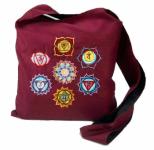 Schultertasche mit Chakrasymbolen bordeaux