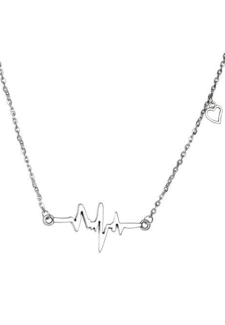 Heartbeat Kette Silber-Antik