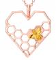 Bienenwabe Anhänger Herz Kette Rosé-Gold