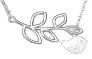Vögelchen mit Ast Kette Silber