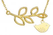 Vögelchen mit Ast Kette Gold