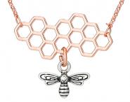 Bienenwabe 2teilig Kette Rosé-Silber