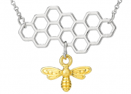 Bienenwabe 2teilig Kette Silber-Gold