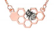 Bienenwabe klein Kette Rosé-Silber