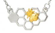Bienenwabe klein Kette Silber-Gold